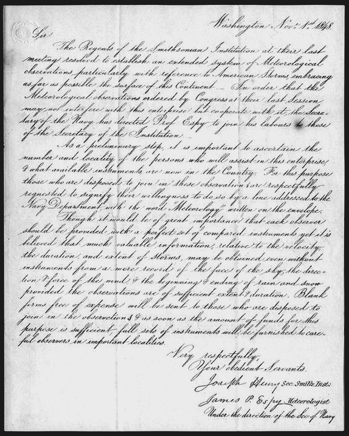 november weather history 1000 FT Deep Pool ref letter of joseph henry for the smithsonian to establish meteorological observations